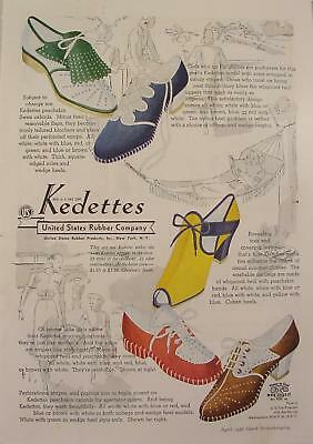 1938 Kedettes Colorful Shoes 5 Models United States Rubber Company Print Ad