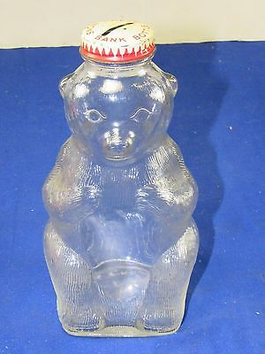 Vintage Snow Crest BANK Beverage Bottle Embossed BEAR Salem Mass.Slotted Cap,7""