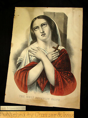 Antique 1800s Currier & Ives Hand Colored Lithograph Holy Catholic Faith Print