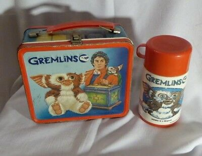 Vintage Gremlins metal lunchbox with plastic thermos 1984
