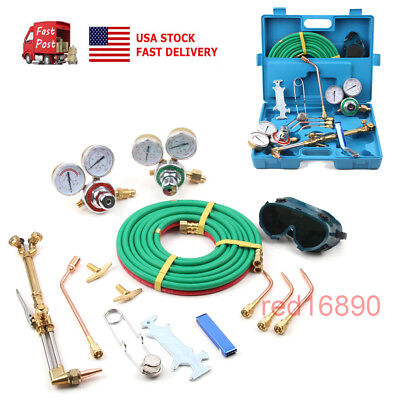 Portable Gas Welding Cutting Kit Oxy Acetylene Oxygen Torch Brazing Tool Set&Box