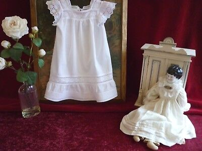 Dainty Cotton Vintage Baby's Pinafore Brod Ang Trim.