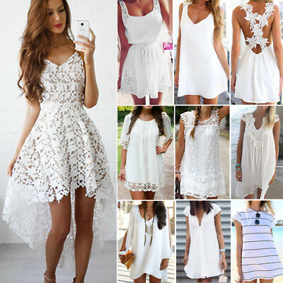 Women Holiday Sleeveless Ladies Maxi White Dress Long Summer Beach Lace Sundress