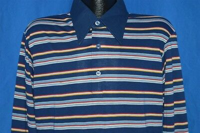 vintage 70s KINGS ROAD BLUE STRIPED LONG SLEEVE DEADSTOCK NOS MENS POLO SHIRT XL
