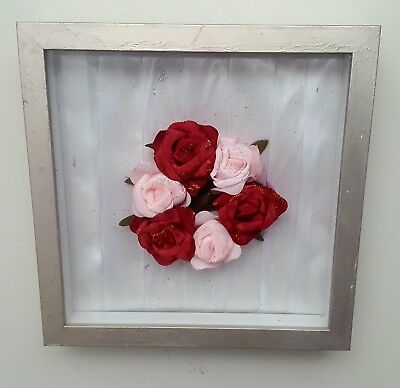 shadow box display wall hanger - Unique creative 3D rose flower art deco