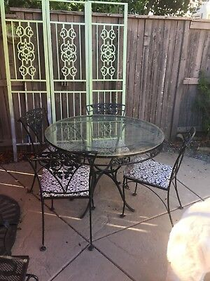 Vintage Wrought Iron Patio Set Glass Top (Mommy Dearest Movie)