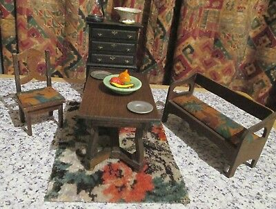 vintage - DOLLS HOUSE DINING ROOM FURNITURE - approx 12th scale