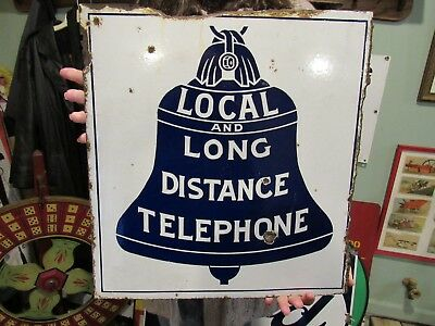 ORIGINAL 1920's LOCAL & LONG DISTANCE TELEPHONE PORCELAIN SIGN CHI & HARVEY ILL.