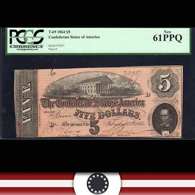T-69 1864 $5 Confederate Currency  *CIVIL WAR MONEY* PCGS 61 PPQ 73937
