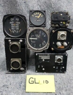 Lot of 3 Old Aircraft Gauges, 3 Relay Boxes & 1 Mach Switch GL1D