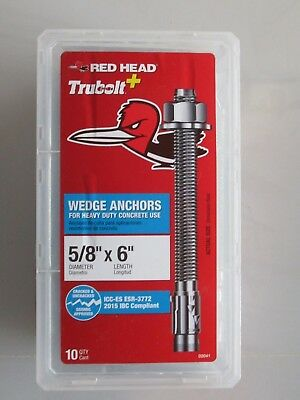 "Red Head 20PK 5//8 X 8-1//2/"" Simpson Strong-Tie WA62812 Wedge-All Anchor Stud"