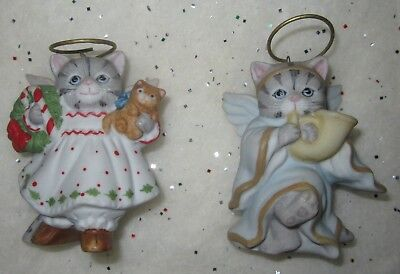 2 Vtg Kitty Cucumber Bisque Porcelain Xmas Ornament Angel Cat French Horn Schmid