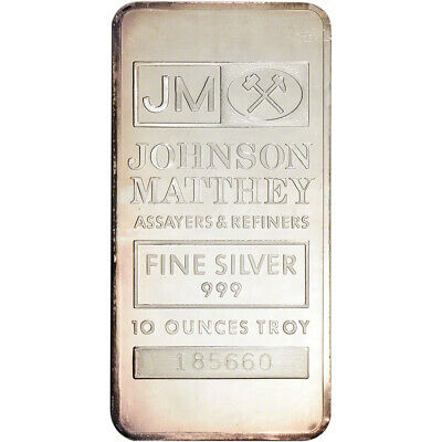 10 oz. JM Silver Bar - Johnson Matthey .999 Fine - Secondary Market