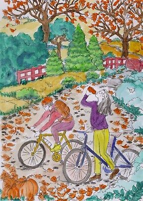 Riding Bike in Autumn Original Watercolor Painting Hand Painted Art 12 x 8.5""