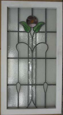 """LARGE OLD ENGLISH LEADED STAINED GLASS WINDOW Gorgeous Floral 19.25"""" x 35.5"""""""