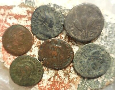 Lot of 6 Fine to VF Ancient Roman Coins Including a Brockage Error Tetricus II!