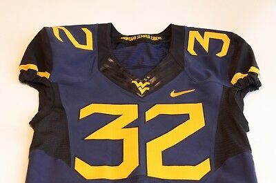 #32 WVU West Virginia Mountaineers Game Used Football Jersey Nike size 42L