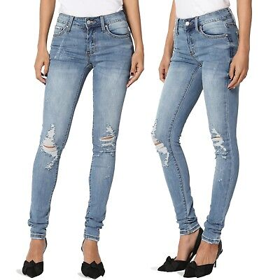 84987db00c6 TheMogan Light Stone Wash Ripped Distressed Destroyed Skinny Jeans 0~15