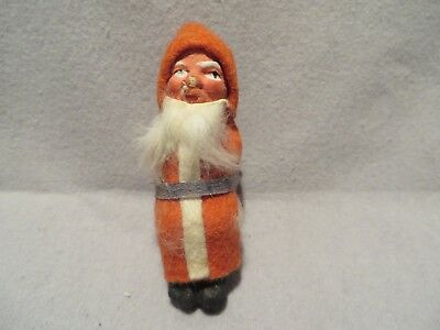 Vintage Clay Face and Cotton Early Sitting Santa - Germany