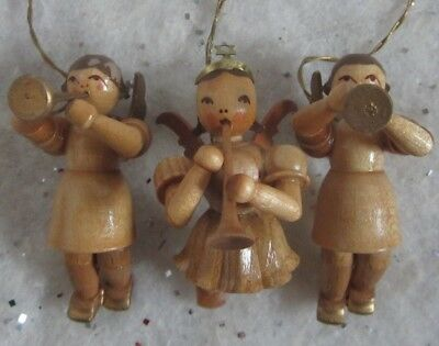 3 Vtg German Erzgebirge Wooden Musical Angel Xmas Ornaments Wood Germany Music
