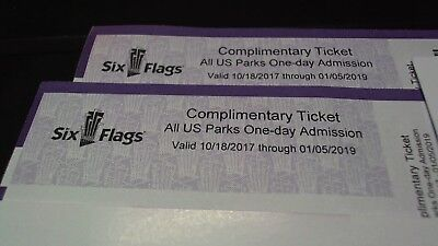 2 (two) authentic Six Flags  Tickets valid in ANY US  PARK -  Fast Free Shipping