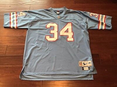 3cc1b7e8b Vintage Reebok Earl Campbell 34 Houston Oilers Blue Red NFL Football Jersey  2XL