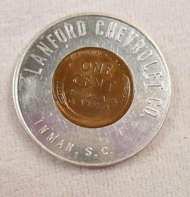Vintage 1948 Encased Penny Token - Lanford Chevrolet Co - Inman, SC
