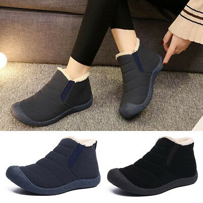 2019 Women Shoes Winter Warm Suede Slip On Fur Lined Short Flat Snow Ankle Boots