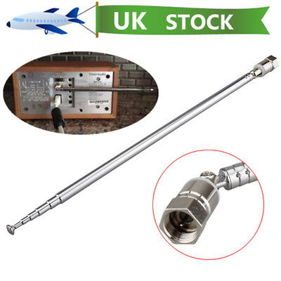 Replacement F Connector Telescopic Aerial Antenna TV Radio DAB AM FM 7 Section