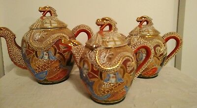 Vintage Japanese Satsuma Dragon Tea set with Raised Moriage