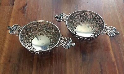 Pair of English STERLING SILVER RAMEKIN CUP HOLDERS