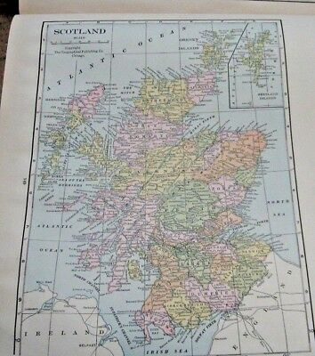 1933 Map Of Scotland From The Commercial Atlas of the World