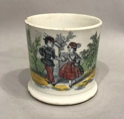 Antique 1800s Transferware Childs Cup Mug With Boy And Girl Holding Hands