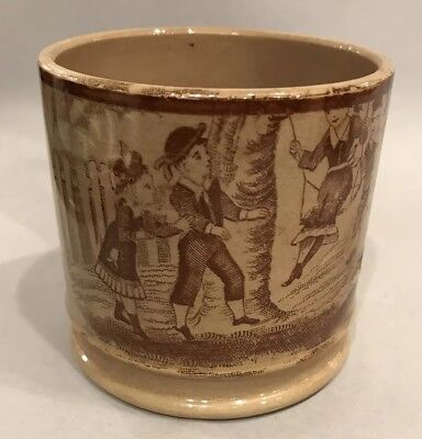 Antique 1800s Transferware Childs Cup Mug With 4 Children 1 On Swing Picket Fenc