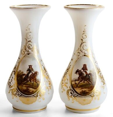 Early Pair of Circa 1840-60s - Rare French Opaline Vases