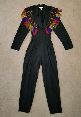 Vintage 80s 90s Cache Pant Jumpsuit Womens Size 6 Black with Fringe Embroidered