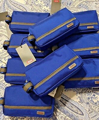 New With Tags   TUMI Cord Pouch  Blue/Brown  Rectangular Shape.