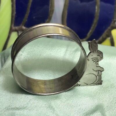 Estate Antique Webster Sterling Silver Rabbit Napkin Ring Holder * No Monogram
