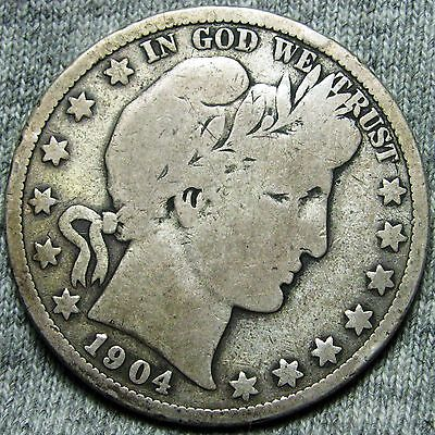 1904-S Barber Half Dollar US Coin --- LOW MINTAGE RARE --- #N569