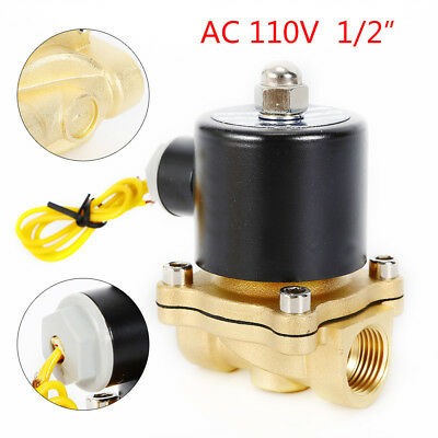1/2In Brass Electric Solenoid Valve DC 110V 2-Way Normally Open For Air Water