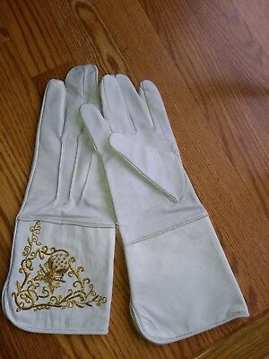 Vintage Embroidered White Leather Gloves Size Large
