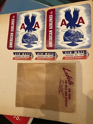 5 Vintage Postal Air Mail Luggage Labels American Airlines Aviation Airliner