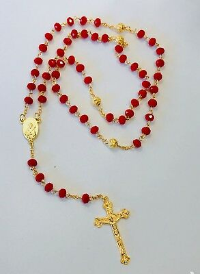 Rosary Of Red Acrylic Beads With Crucifix In Gold