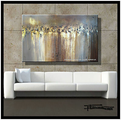 ABSTRACT PAINTING MODERN CANVAS WALL ART Large Framed Signed USA ELOISExxx