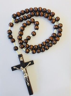 Rosary Of Dark Wooden Beads With Crucifix