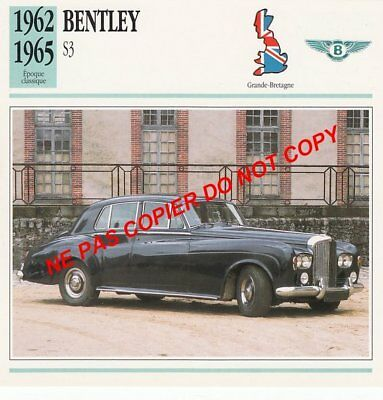 Bentley 1962 1965 S3 V8 Limousine Luxe Car Great Britain Grande Bretagne Fiche