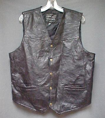 Navarre Leather Company Genuine Italian Stone Design Black Vest Mens Size Large