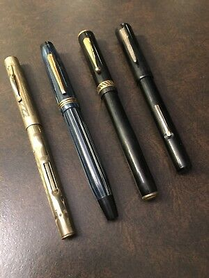 Lot of 4 Vintage Fountain Pens Including EPENCO & Superite 1/20 G.F.14K Nib