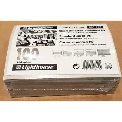 Lighthouse Standard Stamp Cards Black /3 Clear Strips With Cover 158x113mm 100pk
