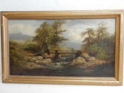 old PAINTING antique oil LANDSCAPE signed G Thompson